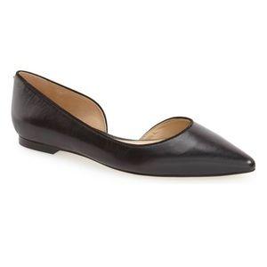 NIB SAM EDELMAN Half D'Orsay Leather Flat Black 8